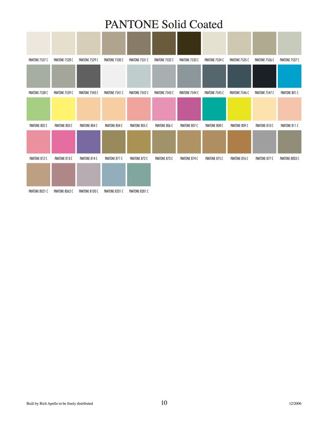 Pantone solid coated 10