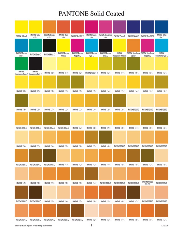 Pantone solid coated 1