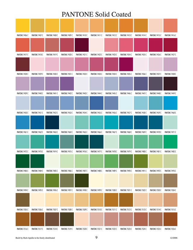 Pantone solid coated 9
